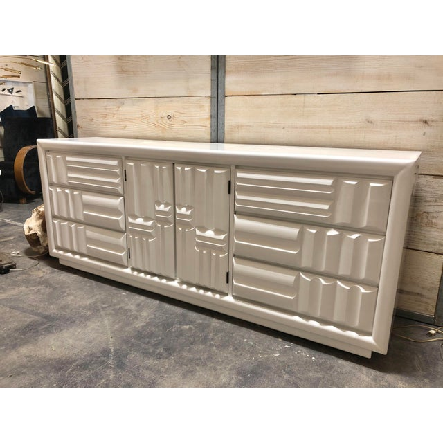Midcentury Brutalist white lacquer credenza by Lane.