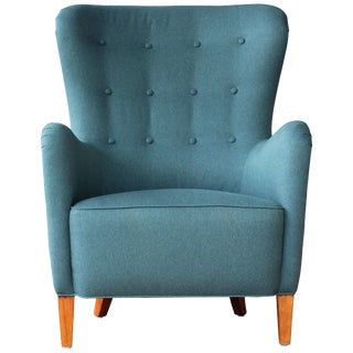 Dark Teal Armchair by Ernest Race, 1940s, England For Sale