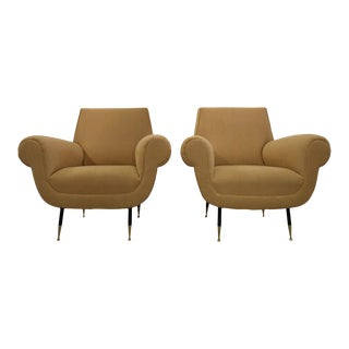 Minotti 1950s, Fully Restored Pair of Italian Lounge Chairs by Gigi Radice