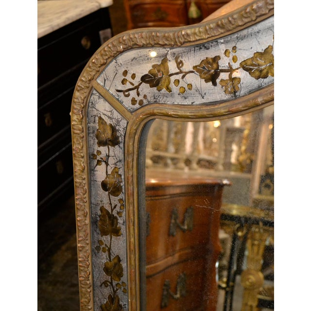 1940s French Jansen Reverse Painted Mirror For Sale - Image 4 of 7