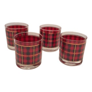 Vintage Crowning Touch Red Plaid With Gold Scotch Lo-Ball Glasses - Set of 4 For Sale