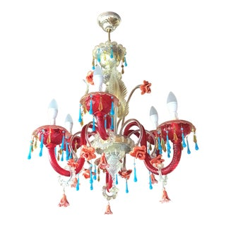 Murano Venetian 6-Light Chandelier For Sale