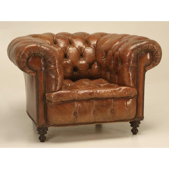 One of the best real antique (over 100 years old) unrestored leather  Chesterfield chair - Original Leather Antique Chesterfield Chair Chairish