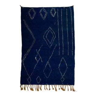 1990s Moroccan Blue Rug-6′9″ × 9′10″ For Sale