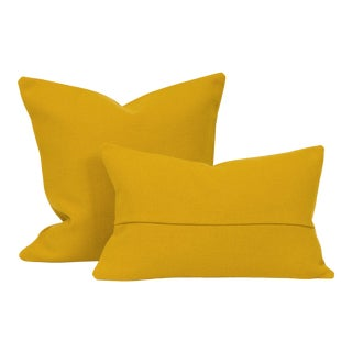 Mustard Mid-Century Throw + Lumbar Pillow Cover (Pair) For Sale