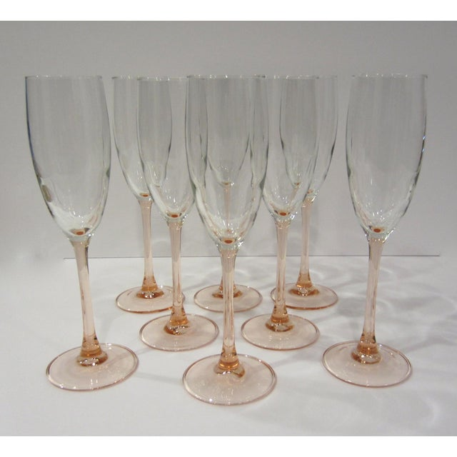 French French Pink Champagne Flutes - Set of 8 For Sale - Image 3 of 11