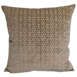 Image of Stark/Scalamandre Taupe Cut Velvet Down Feather Pillow For Sale