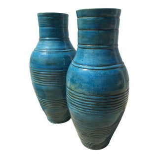 1990s French Blue Terra-Cotta Vases - a Pair For Sale