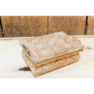 Whitewashed Floral Carved Spice Box Preview