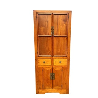 Narrow Linen Cabinet Honey Finish For Sale