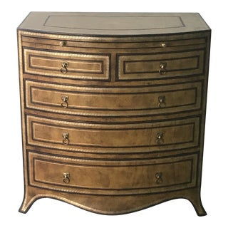 Italian Maitland-Smith Bow Front Leather Bachelors Chest of Drawers For Sale