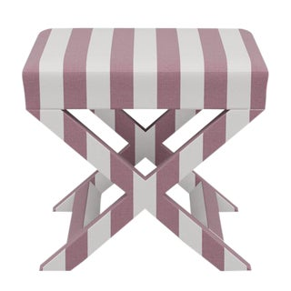 X Bench in Orchid Cabana Stripe For Sale
