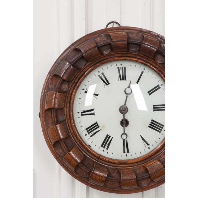 French French 19th Century Hand Carved Oak Wall Clock For Sale - Image 3 of 7