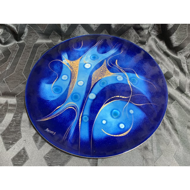 Sascha Brastoff 'Shades of Blue With Gold Leaf' Enamel on Copper Wall Sculpture For Sale - Image 9 of 10