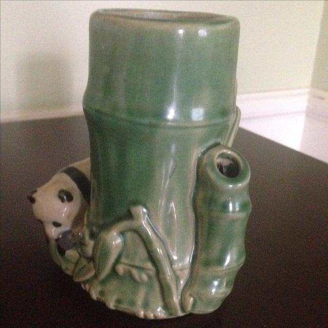 Mid-Century Faux Bamboo Ceramic Panda Vase For Sale - Image 11 of 11