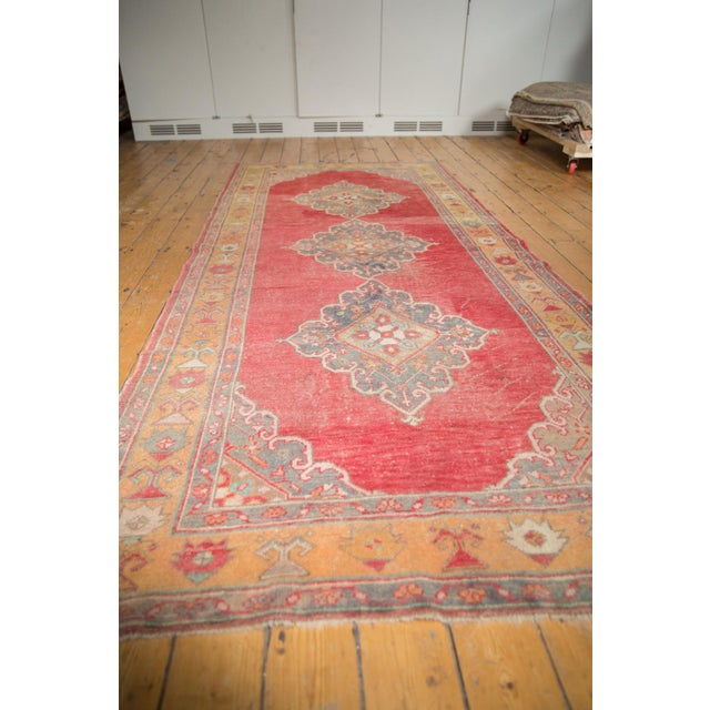 """Old New House Vintage Distressed Oushak Rug Runner - 5' X 10'9"""" For Sale - Image 4 of 12"""