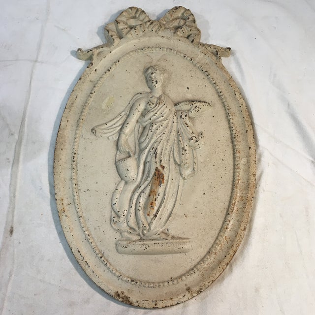 Metal Antique Style Cast Iron Neoclassical Woman Relief Wall Plaque For Sale - Image 7 of 7