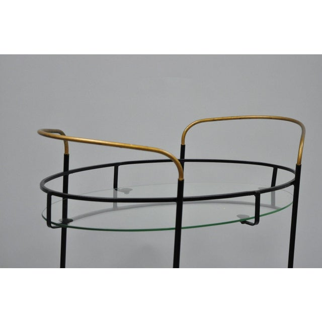 Vintage Metal Iron & Glass Atomic Era Oval Rolling Bar Cart For Sale In Philadelphia - Image 6 of 13