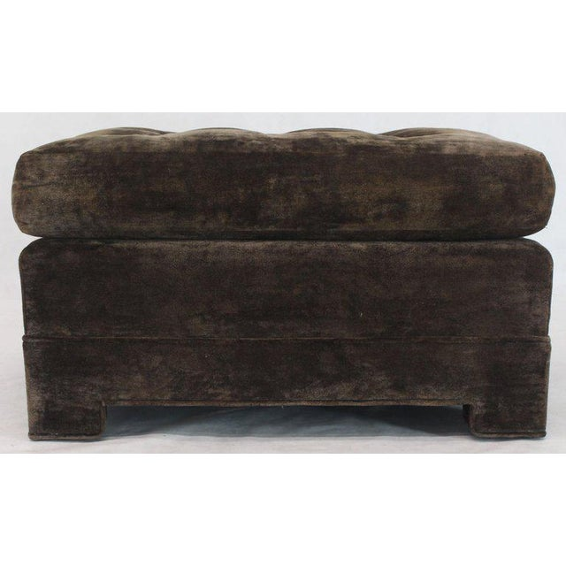 Large Square Deep Bronze Velvet Upholstery Tufted Upholstery Ottoman Footstool For Sale - Image 9 of 11