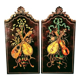 Paul Maitland-Smith Ottoman Baroque / Rococo Wall Panels Featuring Painted Stringed Instruments For Sale