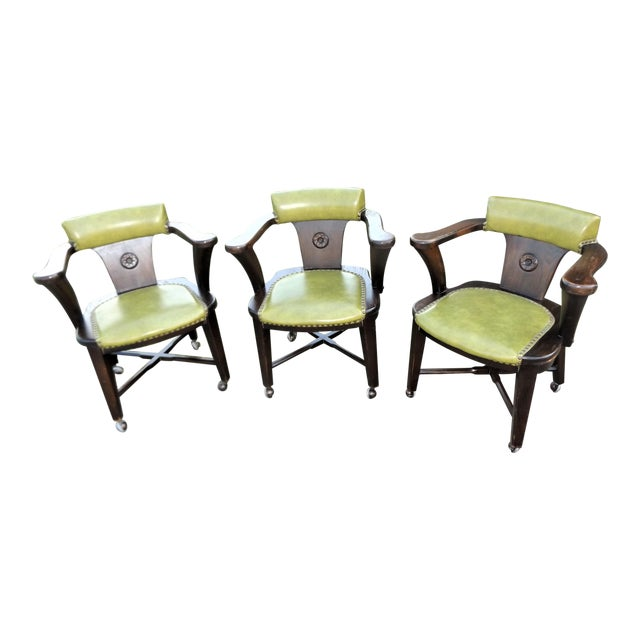 Wood and Avocado Vinyl Mid-Century Arm Chairs - Set of 3 For Sale