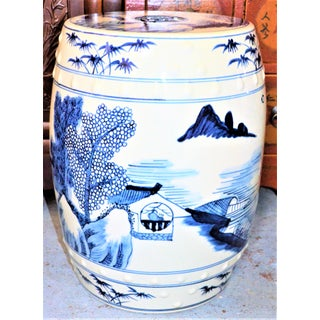 Chinoiserie Blue and White Village Landscape Garden Stool Preview