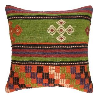 "Lively Lime Vintage Kilim Pillow | 20"" For Sale"