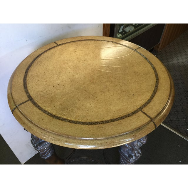 Egyptian Revival Round Table with Leather Top For Sale - Image 5 of 11