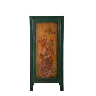 Vintage Green Lacquered Cabinet For Sale