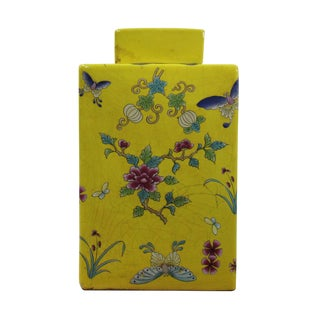 Chinese Yellow Base Butterflies Square Porcelain Accent Jar Urn For Sale