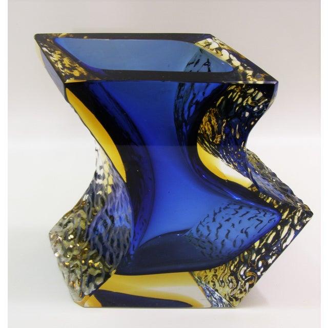 Large Italian Mandruzzato Murano Blue & Yellow Glass Sommerso Vase Mid-Century Modern MCM Campanella - Image 5 of 11