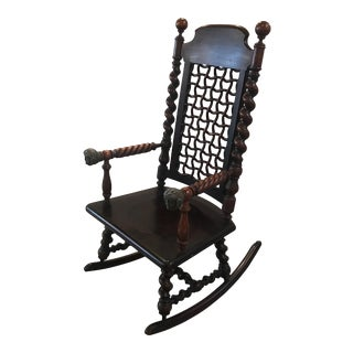 Merklen Brothers Moorish Fretwork 19th Century Walnut Rocking Chair For Sale