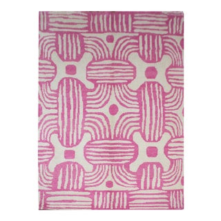 2020 Aara Rugs Pink Handknotted Wool Rug For Sale