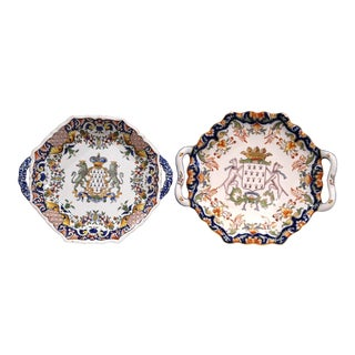 Two Mid-20th Century French Hand-Painted Faience Decorative Plates From Brittany For Sale