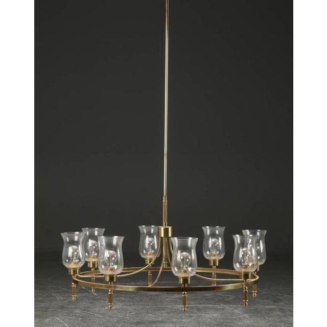 Gold Large Brass Chandelier by Svend Mejlstrøm, 1960s For Sale - Image 8 of 10