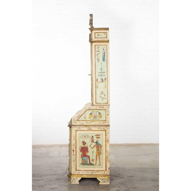 Unusual Antique 19th C Egyptian Motif Paint Decorated Italian Secretary