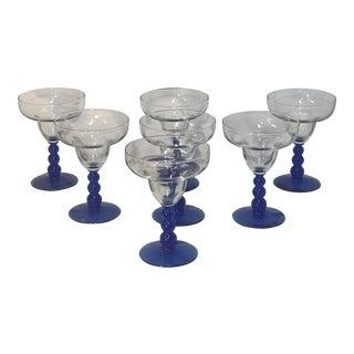 1970s Libbey Margarita Glass Metropolis Cobalt Blue Bubble Stem - Set of 7 For Sale