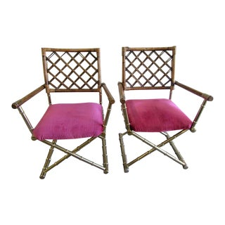 1970s Metal Director Chairs - a Pair For Sale