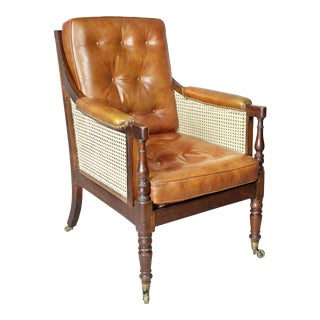 Regency Mahogany Caned Bergere For Sale