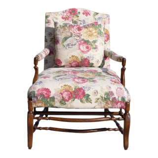Vintage Ralph Lauren Fabric Bergere Chair For Sale
