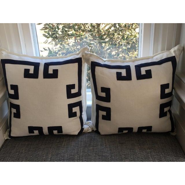 Ryan Studio Greek Key Design Pillows - A Pair - Image 4 of 4