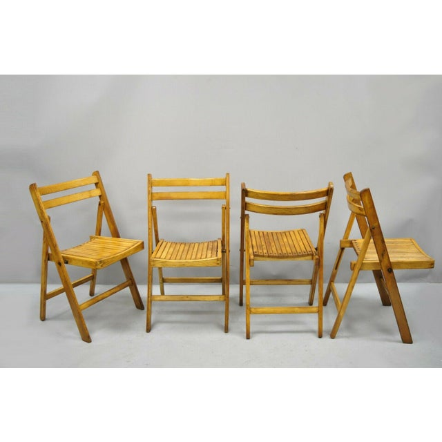 1950s Vintage Wood Slat Folding Dining Game Chairs- Set of 4 For Sale - Image 10 of 11
