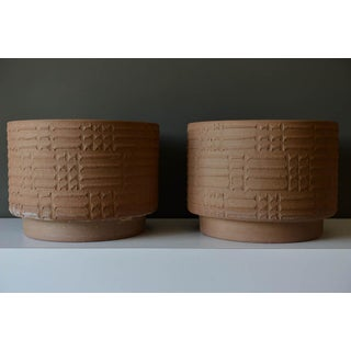 Pair of Large Scale David Cressey Unglazed Stoneware Vessels, 1970
