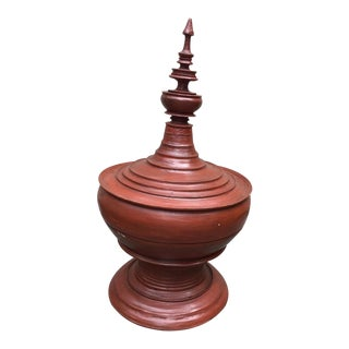 1970's Asian Oversized Burmese Terra Cotta Colored Wood Offering Urn