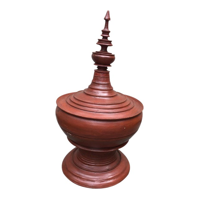 Asian Sculptural Burmese Terra Cotta Colored Wood Offering Urn For Sale