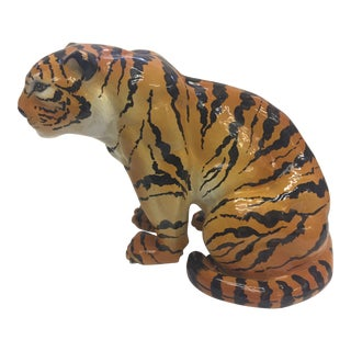 Italian Terracotta Seated Tiger Sculpture For Sale