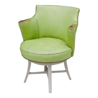 Worn Apple Green Art Deco Swivel Chair