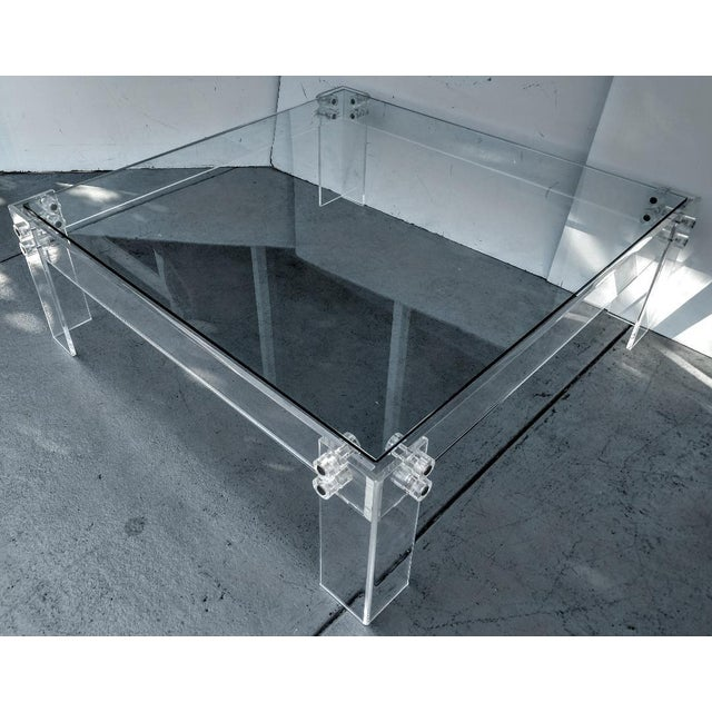 Transparent Lucite Square Cocktail Table With Glass Top, Vintage For Sale - Image 8 of 8