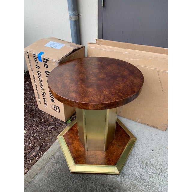 Brown Vintage Mid Century American Brass & Burled Wood Pedestal Table W/ Glass Top For Sale - Image 8 of 12