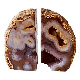 Pair Jonathan Adler Agate Geode Bookends For Sale